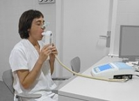 person taking a spirometry test