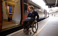 wheelchair user trying to board a train