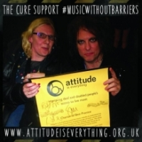 suzanne ball with the cure's robert smith launching #musicwithoutbarriers
