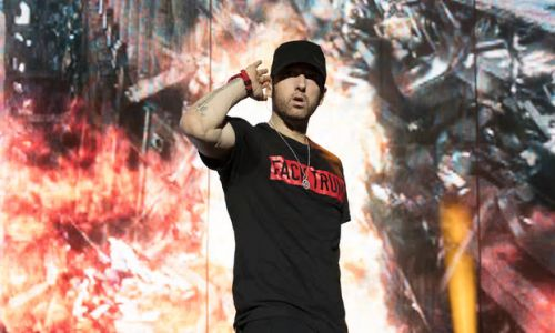 Eminem performing at Reading Festival